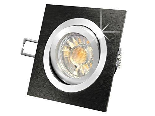 LED Decken-Einbau-Strahler QF-2 schwenkbar, Einbau-Leuchte, Aluminium schwarz eloxiert, 5W SMD LED warm-weiß, GU10 in schöner Halogenoptik [IHRE VORTEILE: einfacher EINBAU, hervorragende LEUCHTKRAFT, LICHTQUALITÄT und VERARBEITUNG] (Weiss Warm Licht Schwarz Eloxiertes)