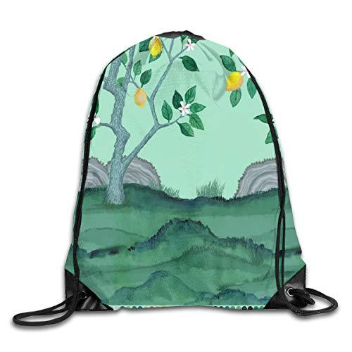 Womens Domino (Drawstring Backpack Bags Citrus Grove Mural Lemon Tree Panel Domino Green Sport Athletic Gym Sackpack for Men Women)