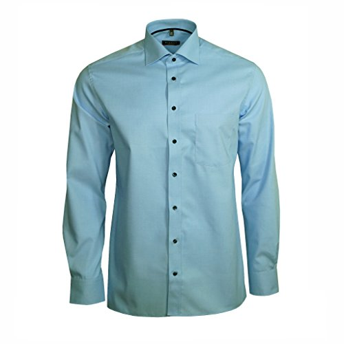 Eterna Herrenhemd Langarm Modern Fit Blau Businesshemd Büro Hemd Freizeit Hemden Bügelfrei Baumwolle L/41