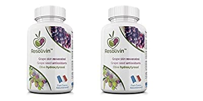Resolivin Resveratrol. Double Pack. Cardiovascular health and anti-ageing supplement. Premium Quality French Grapes & Olives. 60 Day Supply - 120 Veggie Capsules.