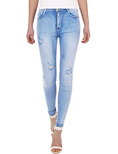 Fraternel Damen Jeans Hose high Waist Skinny destroyed Hellblau S / 36 - W28