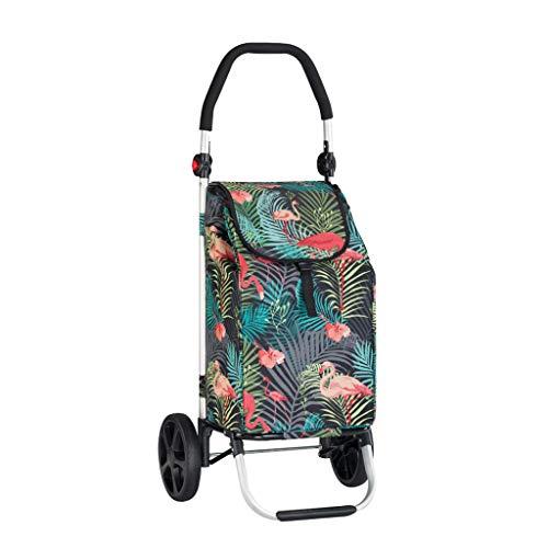 M-HOME Trolley Pieghevole per La Spesa, Ultra Light 2 Wheel Trolley Pieghevole Portatile Pieghevole per La Lega di Alluminio Oxford -L37 * 33.5 * H105.5cm