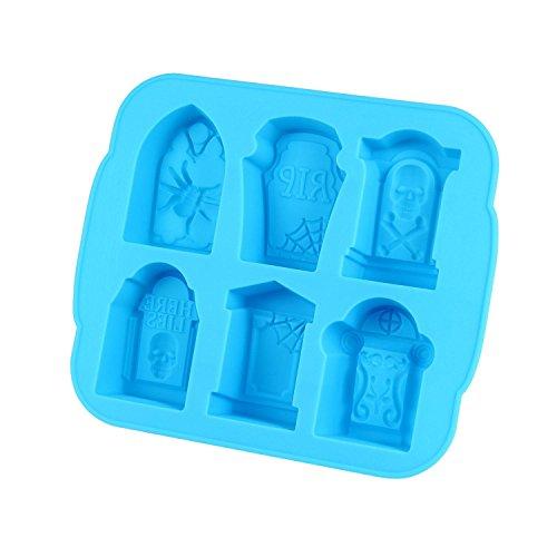 KOBWA Grabstein Ice Form, Silikon Eiswürfelform, mit Deckel, Machen 6Totenkopf Skelett Eiswürfel für Whiskey, Cocktails, Candy, Best Blau