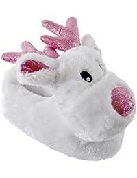 Reno Zapatillas Novedad Infantil Niños Marrón Blanco y Rosa GB Tallas Cálido Cómodo Regalo Navidad