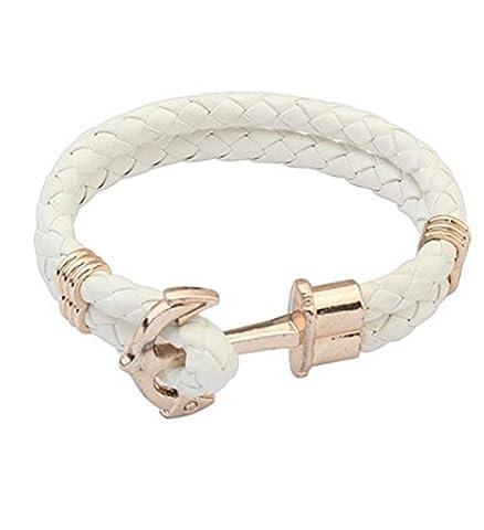 HFJ&YIE&H 1pc tressé PU cuir Bracelet ancre & Bracelet crochet , one size