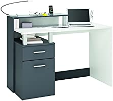 Demeyere 305890 Oracle MultiMedia avec 1 Porte/Tiroir Panneau de Particules Blanc/Gris Graphite 119,8 x 55 x 91 cm