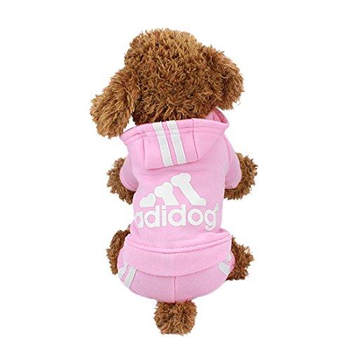 Idepet Haustier Katze Hundekleidung 4 Beine Baumwollwelpe Kapuzenpulli Warmes Mantel Strickjacke Kostüm Hund Jacke Hündchen T-Shirt Für Frühling Autunmn Winter Klimatisierungsraum (M, (Hund Bein 2 Kostüme)