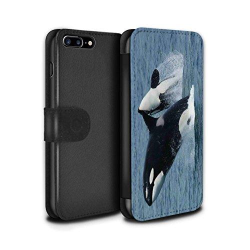Stuff4 Coque/Etui/Housse Cuir PU Case/Cover pour Apple iPhone 7 Plus / Dauphin Design / Faune Marine Collection Orque/Épaulard