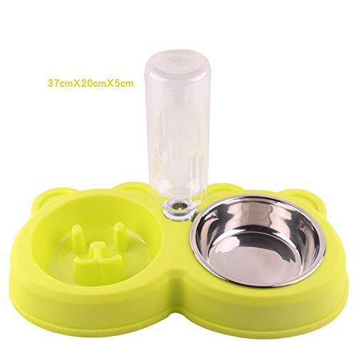 Yzibei Fácil de Limpiar Comedero automático del Recipiente del bebé del Cuenco de la Comida rápida Rompecabezas Lento del Cuenco de la Comida de Anti-Smashing (Color : Verde)