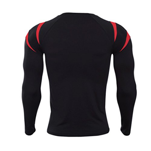 Männer Langarm Fitness Bodybuilding Workout Slim Fit Kompression Shirt Schwarz + Rot3 XL = US L (Langarm-t-shirt Knochen)