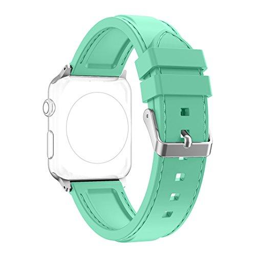 Preisvergleich Produktbild Band für Apple Watch 38MM,  Rosa Schleife Soft Silikon Ersatzband iWatch Sport Straps Replacement Wristband Bracelet Armband Uhrenarmband mit Edelstahl Schnalle für Apple Watch Series 2 ,  Series 1,  Sport,  Edition - Grün