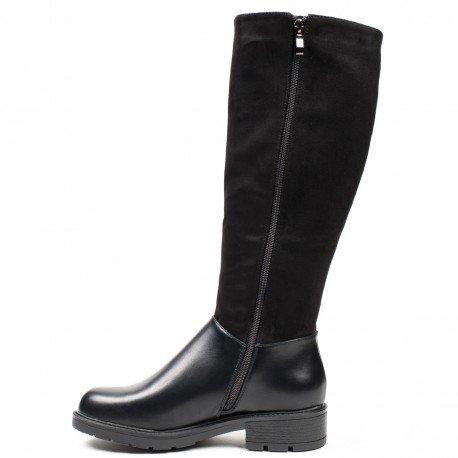 Ideal Shoes - Bottes cavalières bimatière Shanon Noir