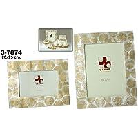 DonRegaloWeb - Portafotos de nácar para fotos de 20cm x 25cm con círculos en color blanco