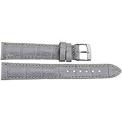 Watch Strap in Purple Leather - 16mm - Alligator grain - buckle in Silver stainless steel - B16PurAli82S