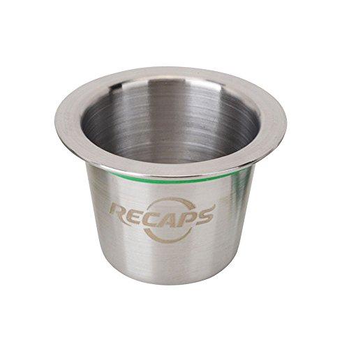 RECAPS--Cápsulas reutilizables Nespresso Cápsulas recargables de acero inoxidable para máquinas Nespresso (OriginalLine Compatible) (1 Pod +120 Seals)
