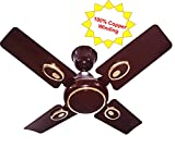 #8: Candes 600mm High Speed Kwid 4 Blade Ceiling Fan (Brown) (100% Copper Winding with 2 Year Warranty)