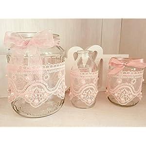 3 teiliges Set Rosa Hochzeit Vintage Vase Windlicht Teelicht Spitze