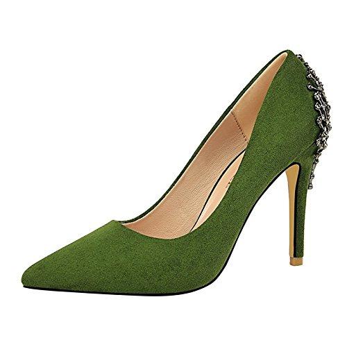 Dimaol Zapatos De Mujer En Cuero Sintético Spring Fall Comfort Heels Stiletto Punta De Tacón Para Fiesta Y Noche Khaki Pink Red Green Gray Green