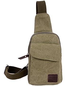 Herren Canvas Rucksack Brusttasche Umhängetasche Schultertasche Messenger Bag Sporttasche