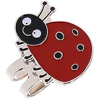 Sharplace Mini Marcador de Bolas de Aleación Portátil con Clip de Sombrero Magnético de Visor de Golf - Mariquita
