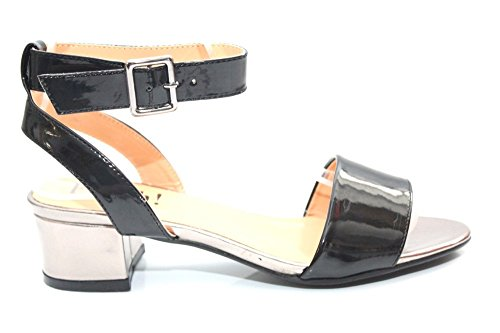 Femme Noir Brevet Talon Bas Soirée occasion Sandales Taille 3–8 Noir - noir