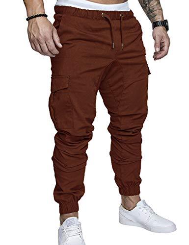 SOMTHRON Homme Ceinture élastique à Long Coton Jogging Pantalons de survêtement Plus la Taille Mode Sport Cargo Pantalons Shorts avec Poches Joggers