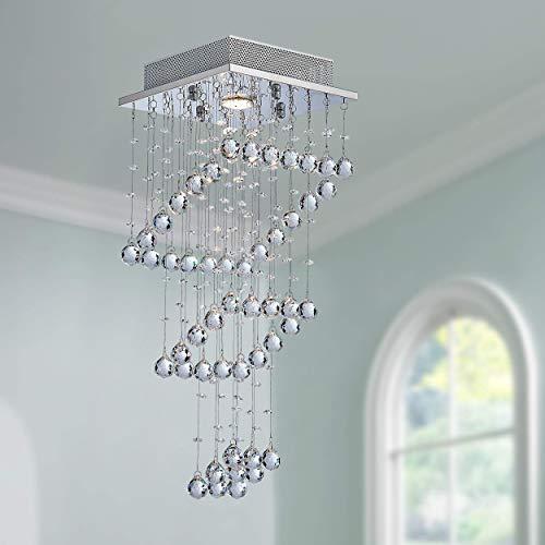 Moderne Kristall Regentropfen Kronleuchter Beleuchtung Unterputz LED Deckenleuchte Pendelleuchte für Esszimmer Badezimmer Schlafzimmer Wohnzimmer 1 GU10 LED-Lampen erforderlich - Französische Anhänger Beleuchtung