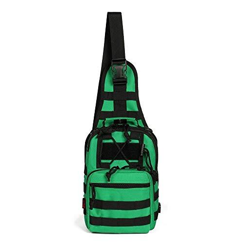 M_CC_USK Mode Lässig Leinwand Brusttasche, Crossbody Sling Schulter Rucksack, Casual Sport Wandern Travel Satchel Hüfttasche (grün) -