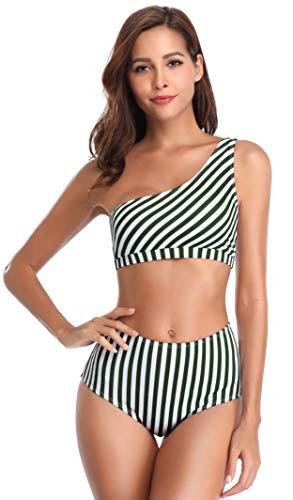 SHEKINI Damen Zweiteiliger Streifen Bikini-Set Schulterfrei Sexy Bademode High Waist Bikinihose Bauchweg Schlanker Schick Bikini Strandkleidung (XL, EIN-Schulter-Ankergrün)