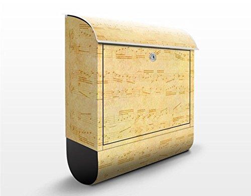 Design Briefkasten Die Musik vergangener Tage   Noten Töne Pergament, Postkasten mit Zeitungsrolle, Wandbriefkasten, Mailbox, Letterbox, Briefkastenanlage, Dekorfolie -