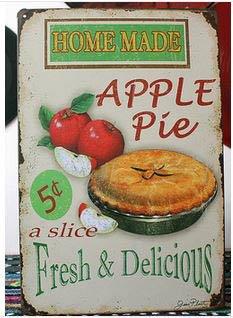 Blechschild, Vintage-Look, Aufschrift Home Made Apple Pie Wanddekoration Wandbild