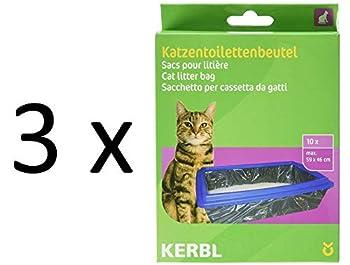 Kerbl 84215 Lot de 10 Sacs pour litière pour Chat Taille XL 59 x 46 cm