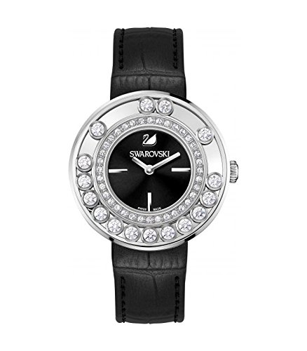 Lovely cristalli swarovski da donna, in pelle, colore: nero quarzo 1160306 swiss-orologio da donna