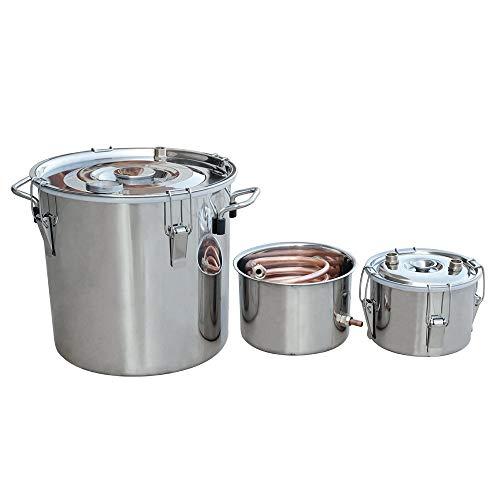 DC HOUSE Edelstahl-Kessel-Destillation Ausrüstung, Edelstahl und reinem Kupfer mit Thermometer (18L Distiller 3 Pots) -