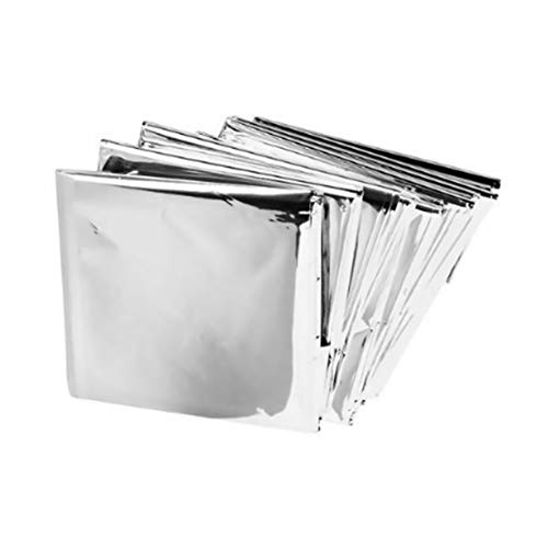 Yililay 5 PCS Notfalldecken Wärmeschutz Thermal Decken mit Wasserdichtes Silber Mylar für Erste-Hilfe-Kit Im Freien Überlebens-kampierende Wandern, Notfalldecken (Haushaltswaren)