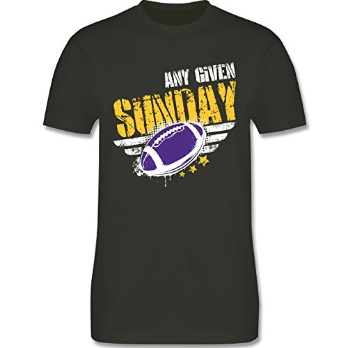 Shirtracer American Football - any Given Sunday Football Minnesota - Herren T-Shirt Rundhals Army Grün