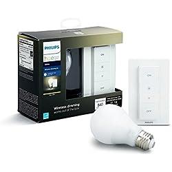 Philips Hue White - Kit de bombilla LED E27 e interruptor o mando, 9,5 W, iluminación inteligente, luz blanca cálida regulable, compatible, Apple HomeKit y Google Home