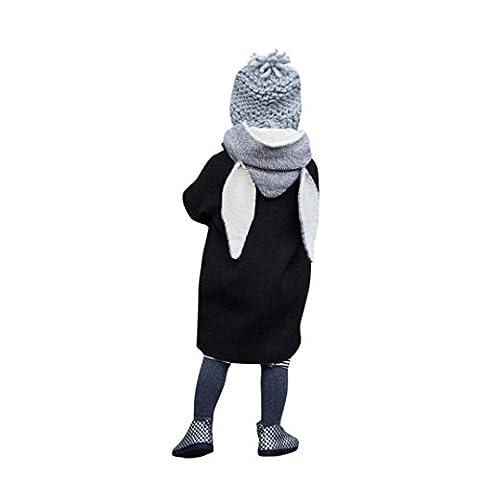 Baby Kleidung FORH Herbst Winter Baby Klassische Retro Hoodie jacke Cute Kaninchen Kapuzenmantel Jacke warm langarm Trenchcoat super Cool Cardigan Outwear mode Streetwear für 1-8 Jahre (130, Schwarz)