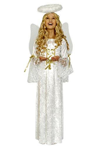 Karneval Klamotten Engel Kostüm Kinder Mädchen weiß-gold lang Mädchenkostüm Kleid Größe (Engel Kostüm Gold)