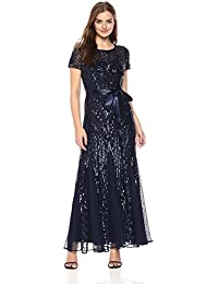 R&M Richards Womens One Piece Short Sleeve Embelished Sequins Gown Dress