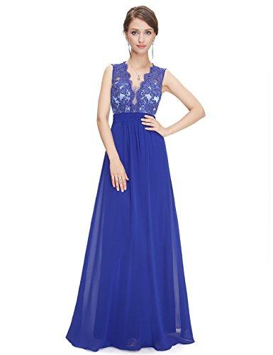 Ever Pretty Robe de Soiree Maxi V-col et dos translucide 08415 Bleu Saphir