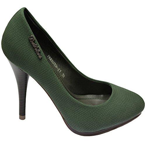 Best Shoes/Milaya/Aisha Mujeres Señoras Nupcial Boda Paseo Fiesta Alto Tacón Zapatillas Diseñador Zapatos Clásico,PKNA006 Verde,39