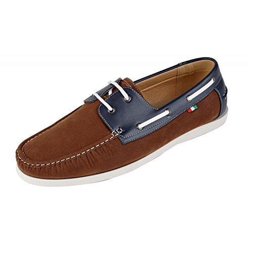 Duke Herren D555 groß Hoch King-Size Luther Leder PU Wildleder Slipper Boot Schuhe Braun - Blau
