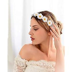 Simsly Boho - Corona de flores con diseño de margaritas, accesorio para el pelo para mujeres y niñas (color blanco)