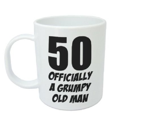 50 Officially a Grumpy Old Man Funny Ceramic Mug, White