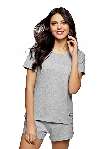 oodji Ultra Damen Lounge-T-Shirt mit Applikation, Grau, DE 40 / EU 42 / L