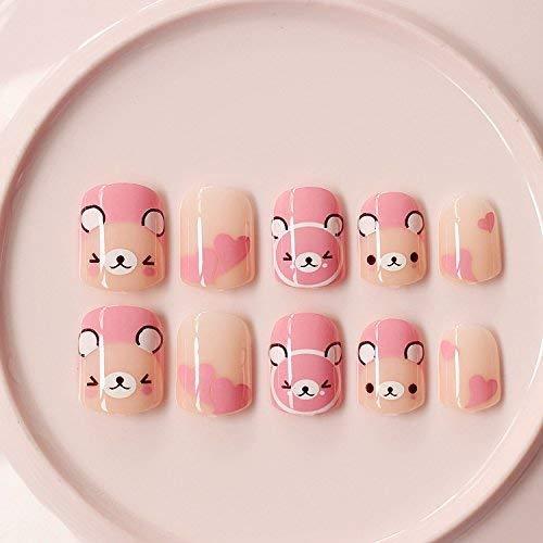 YuNail 24kurze falsche Nägel mit pinkem Bär, für kleine Mädchen und Erwachsene mit kleinen Händen