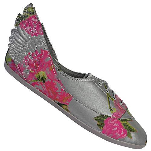 adidas Originals JS Jeremy Scott Wings Easy5 Floral Ballerina Schuhe Grau Blumen, Schuhgröße:38 2/3 EU, Farbe:Grau