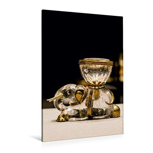 Preisvergleich Produktbild Premium Textil-Leinwand 80 cm x 120 cm  hoch, Ein Motiv aus dem Kalender Gold - Schätze der Kunstkammer Wien   Wandbild, Bild auf Keilrahmen, ... Elefant mit Salzfass (CALVENDO Kunst)