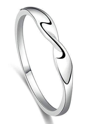 Daesar Silber Ringe Damen Silber Welle Ringe Unendlichkeit für Freundin mit Geschenke-Box Größe:53 (Kostüm Batman Freundin)